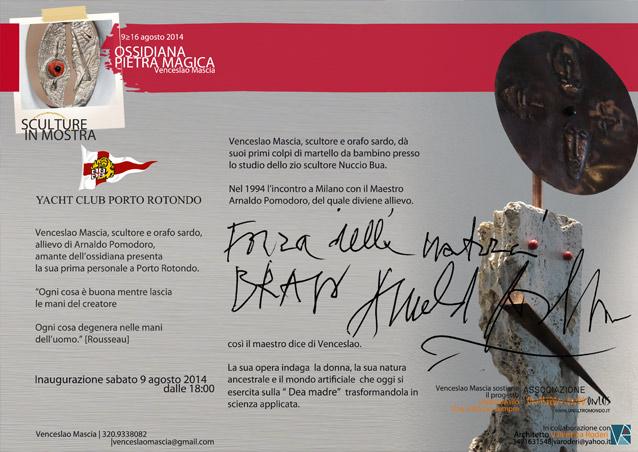 9 agosto a Portorotondo: Ossidiana Pietra Magica di Venceslao Mascia