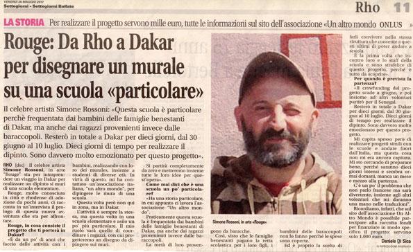 """Rouge: Da Rho a Dakar per disegnare un murale su una scuola """"particolare"""""""