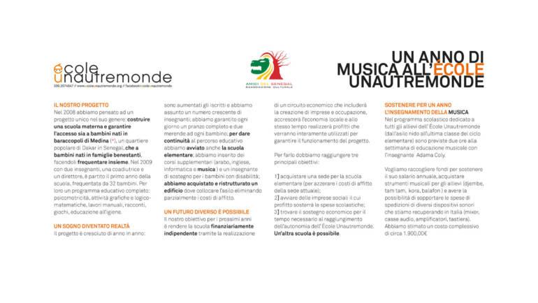 """L'associazione Amici del Senegal sostiene il progetto """"Un anno di musica all'École Unautremonde"""""""